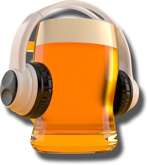 Pint of beer with headphone